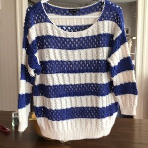 Blue and whit striped sweater. Great condition